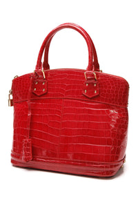 Louis Vuitton Crocodile Lockit PM Bag - Red
