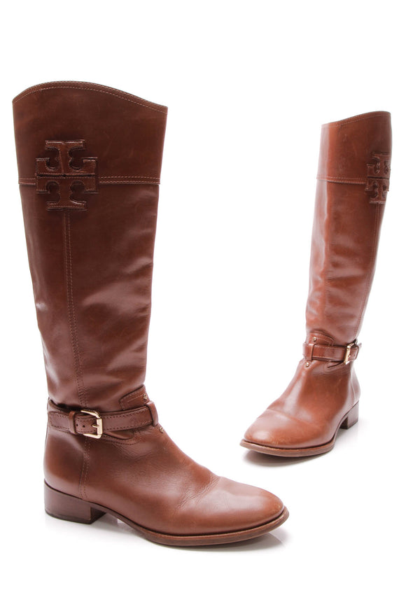 Tory Burch Blaire Riding Boots - Brown Size 9.5