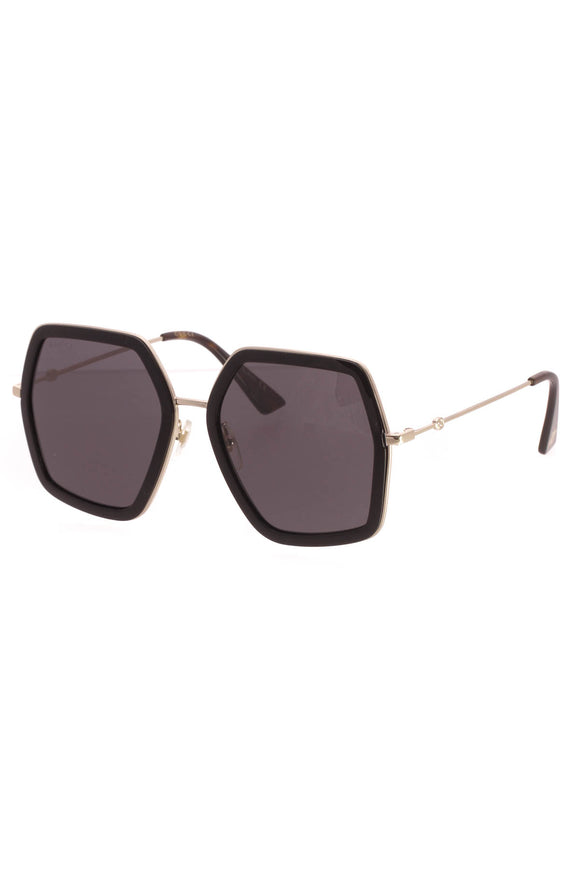 Gucci Oversized Square Bee Sunglasses - GG0106S Black/Tortoise