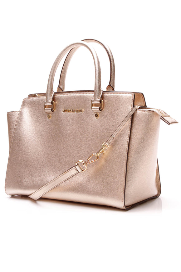 Selma Large Satchel Bag - Gold