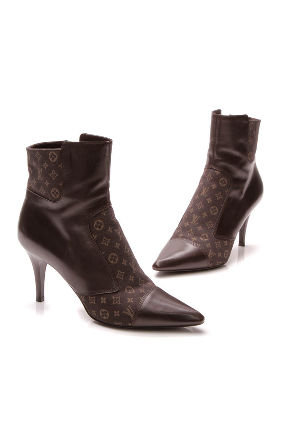 Louis Vuitton Mini Lin Pointed-Toe Booties - Brown Size 38.5