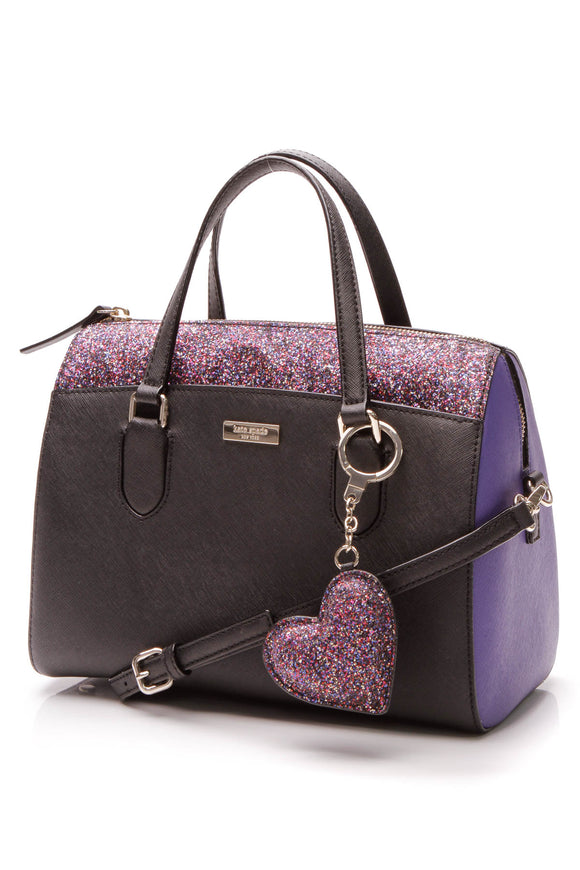 Kate Spade Glitter Laurel Way Lanae Satchel Bag - Black/Purple