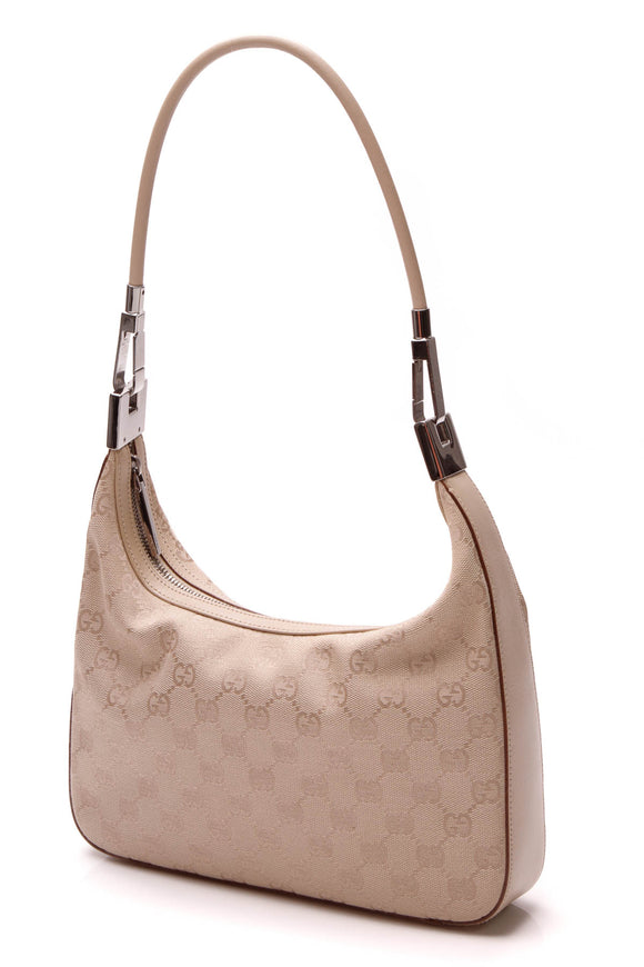 Gucci Small Hobo Bag - Beige Signature Canvas