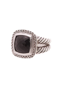 David Yurman 11mm Diamond & Black Onyx Albion Ring - Silver Size 6.5