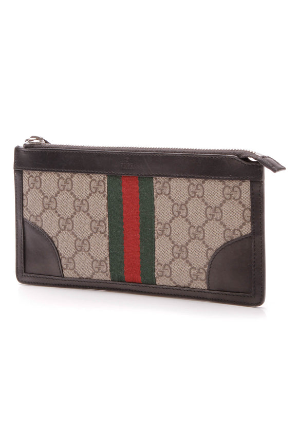 Gucci Web Small Pouch Wristlet Bag - Supreme Canvas