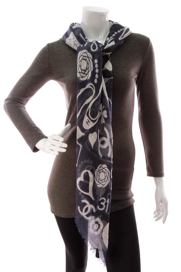 Chanel CC Iconic Motif Square Shawl Scarf - Navy/White