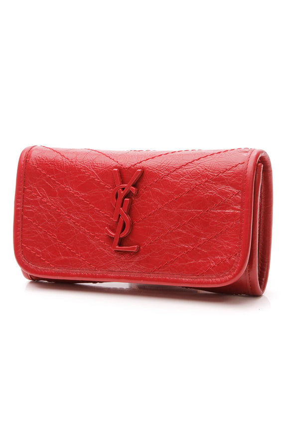 Saint Laurent Niki Crinkled Clutch Bag - Red