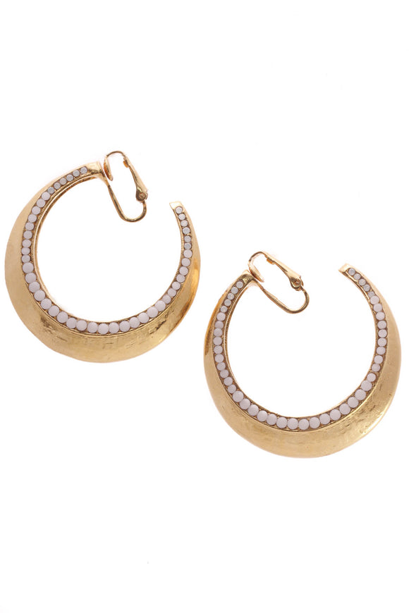 Barrera Opal Stone Clip-On Hoop Earrings - Gold-Plated