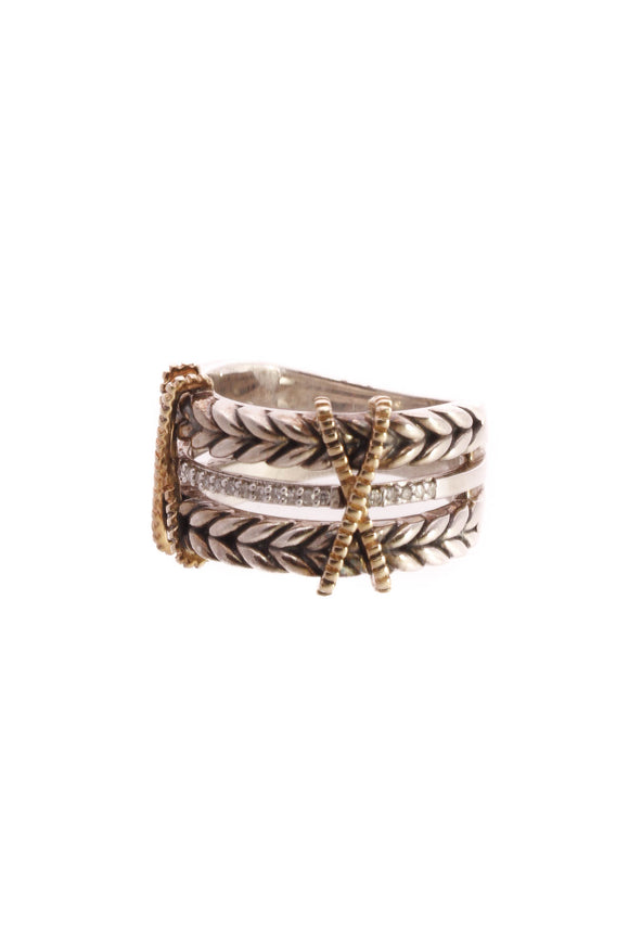 Effy Diamond Braided Double X Ring - Silver/Gold Size 6.5