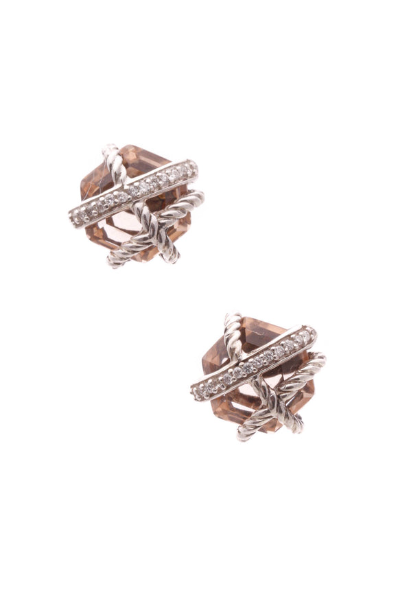David Yurman Diamond & Morganite Cable Wrap Earrings - Silver