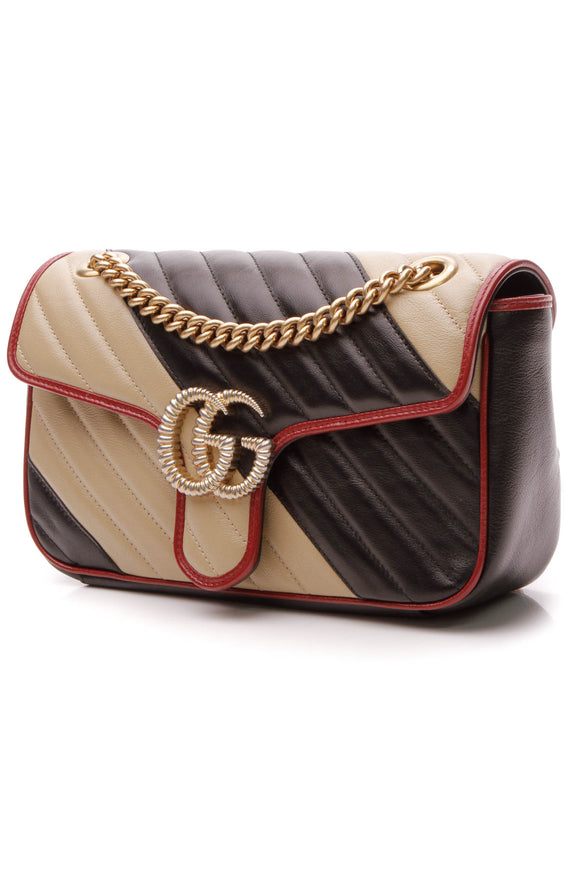 Gucci Torchon Diagonal Print Small Marmont Bag - Black/Beige
