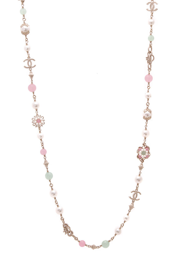 Chanel Faux Pearl & Beads Camellia Long Necklace - Gold
