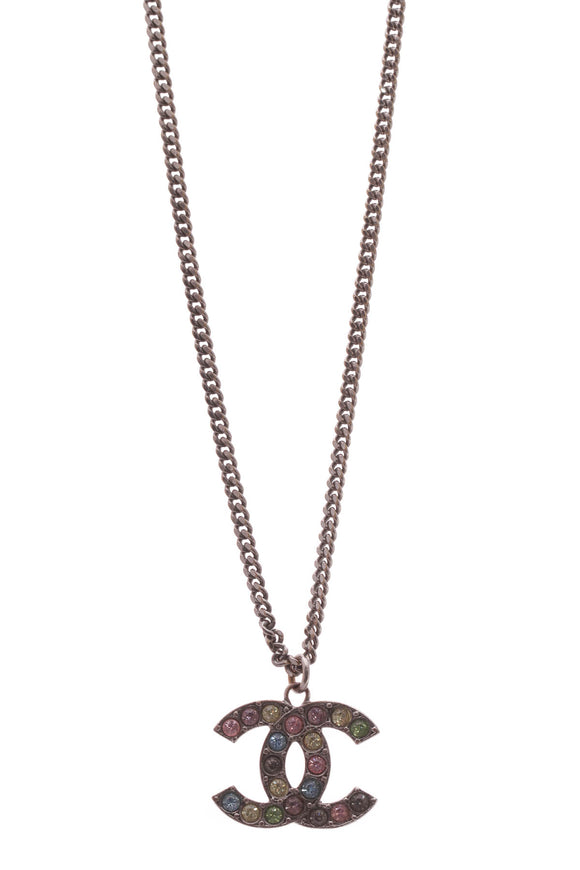 Chanel Crystal CC Pendant Necklace - Gunmetal
