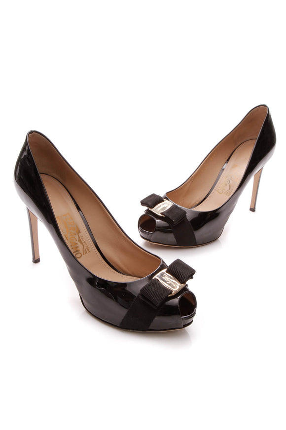 Ferragamo Plum Peep Toe Pumps - Black Size 10