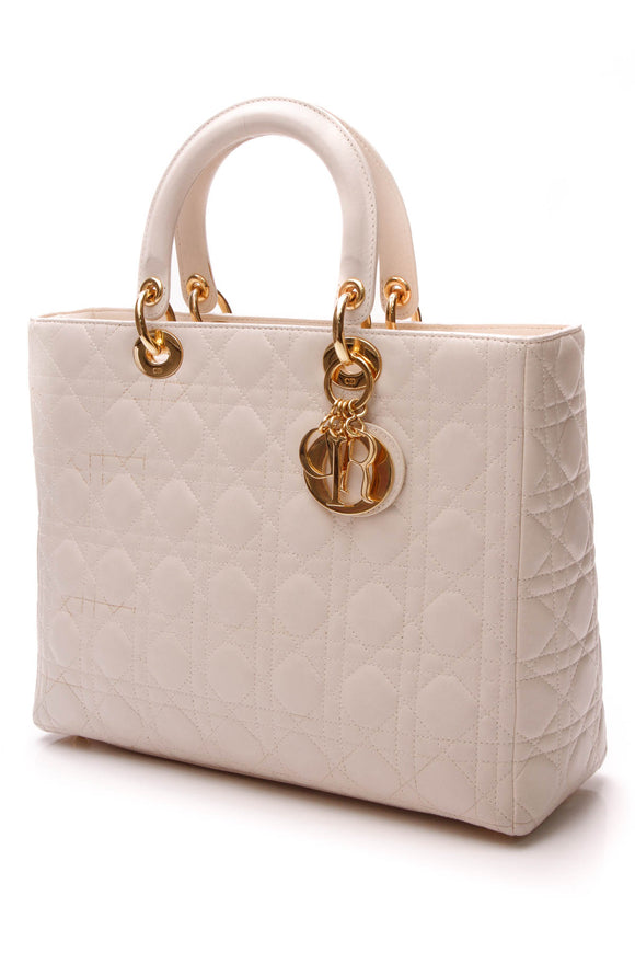 Christian Dior Cannage Large Lady Dior Bag - Ivory