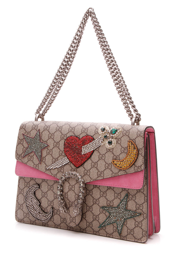 Gucci Embellished Medium Dionysus Bag - Supreme Canvas
