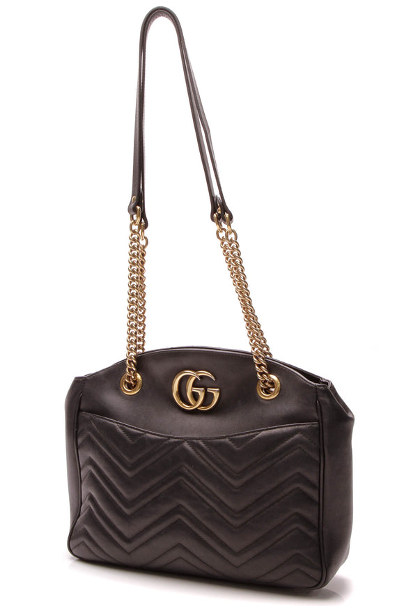 Gucci Marmont Matelasse Medium Tote Bag - Black