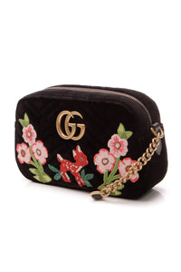 Gucci Embroidered GG Marmont Small Bag - Black