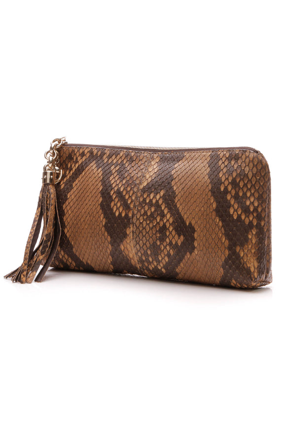 Gucci Python Sienna Clutch Bag - Brown