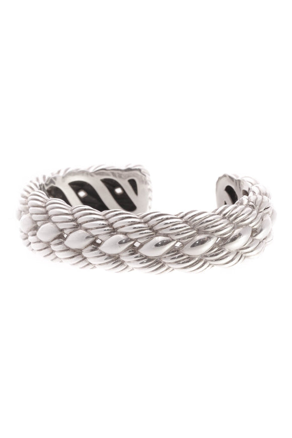 David Yurman Woven Cable Cuff Bracelet - Silver