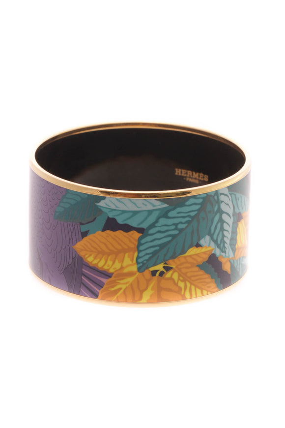 Hermes Les Perroquets Wide Bangle Bracelet - Gold