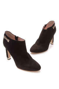 Kate Spade Gold Bow Ankle Booties - Black Size 9.5