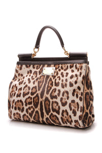 Dolce & Gabbana Leopard Large Top Handle Bag - Brown