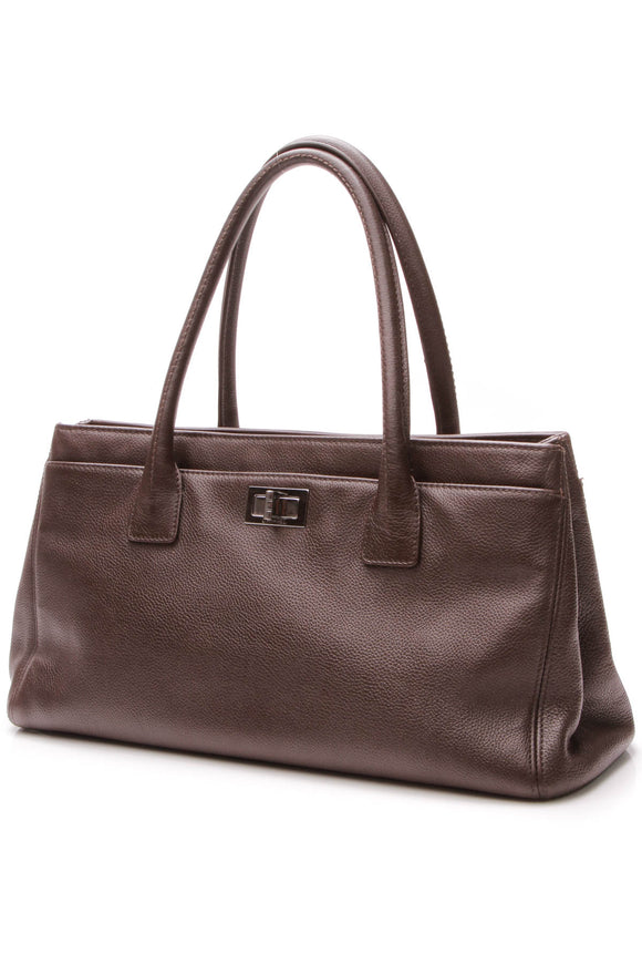 Chanel Mademoiselle Lock Cerf Tote Bag - Brown