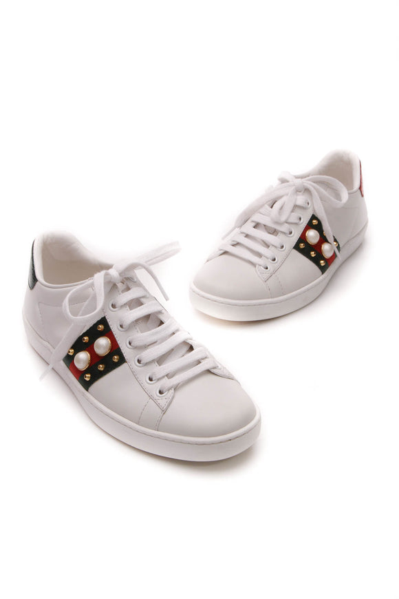 Gucci Studded Web Ace Sneakers - White Size 35.5