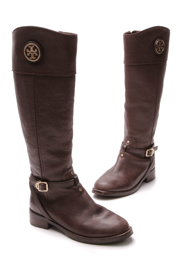 Tory Burch Teresa Riding Boots - Coconut Size 8.5