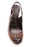 Gucci Sofia Animal Print Platform Slingback Pumps - Brown Size 36