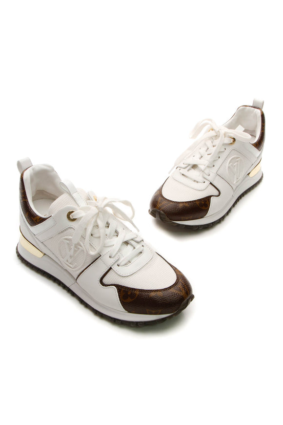 Louis Vuitton Run Away Hidden Heel Sneakers - Monogram/White Size 37