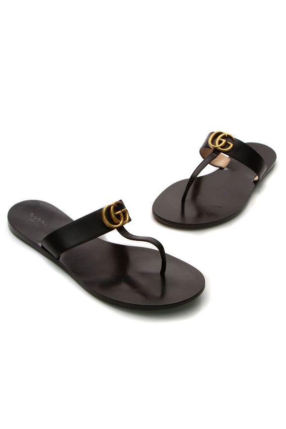 Gucci GG Marmont Thong Sandals - Black Size 42