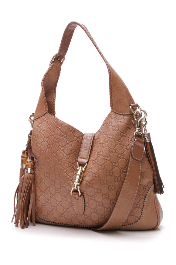 Gucci New Jackie Medium Hobo Bag Brown Guccissima