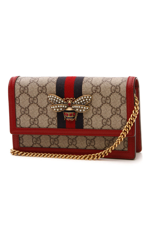 Gucci Queen Margaret Mini Bag - Supreme Canvas/Red