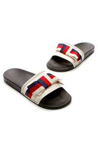 Gucci Persuit Web Bow Slides - White Size 42