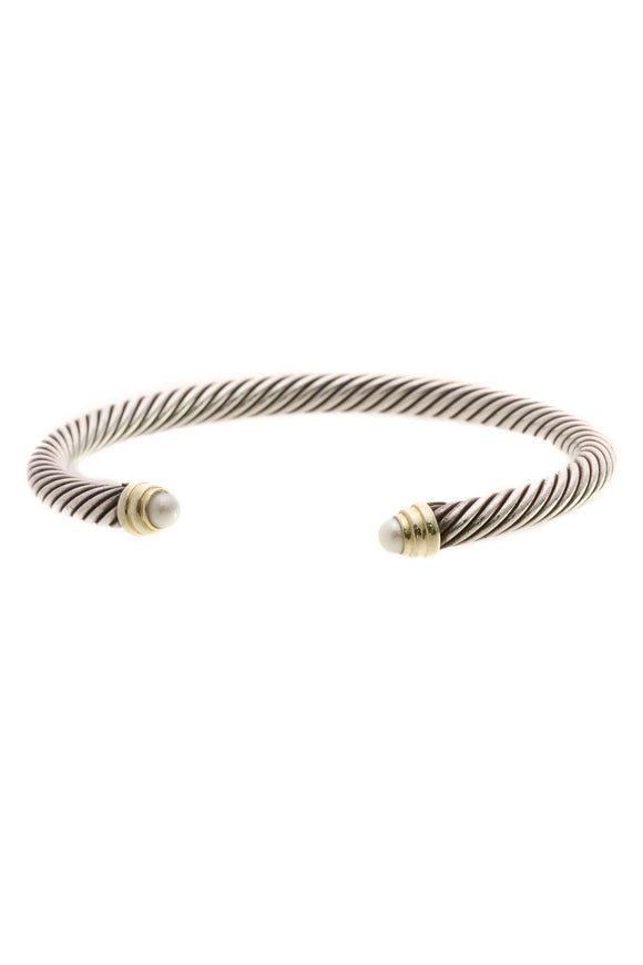 David Yurman 5mm Pearl Cable Classics Cuff Bracelet - Silver/Gold