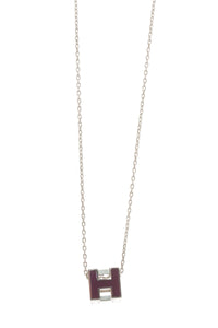 Hermes Caged D'H Pendant Necklace - Plum