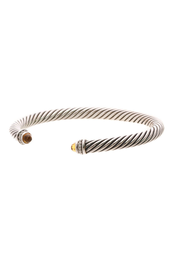 David Yurman 5mm Diamond & Citrine Cable Cuff Bracelet - Silver