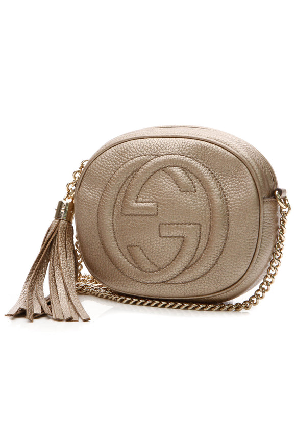 Gucci Soho Disco Chain Mini Crossbody Bag - Metallic Bronze