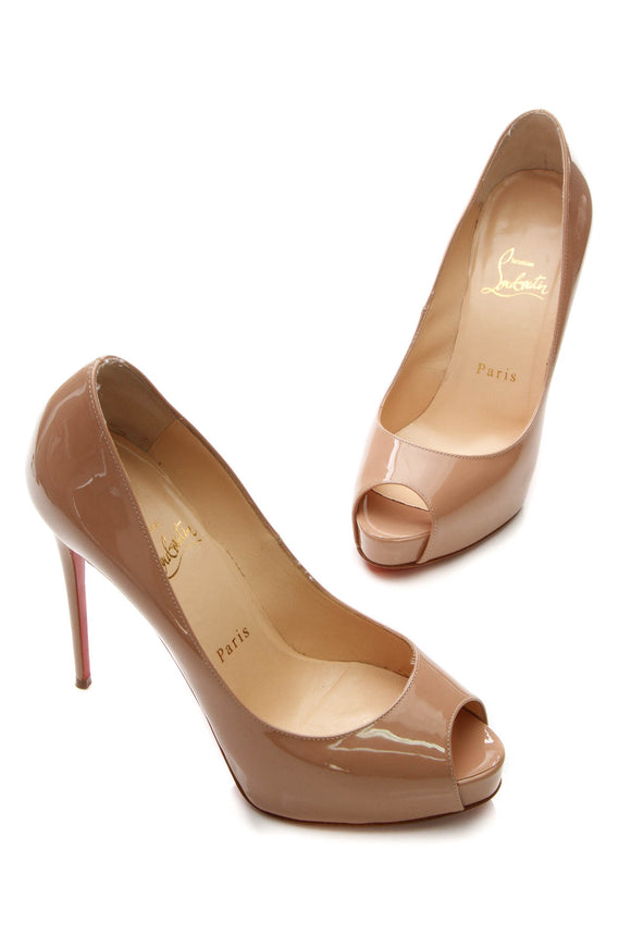 Christian Louboutin New Very Prive 120 Pumps - Nude Patent Size 37