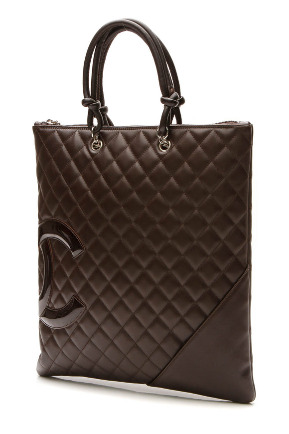 Chanel Cambon Ligne Flat Tote Bag - Brown