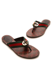 Gucci GG Web Thong Sandals - Brown Size 40.5