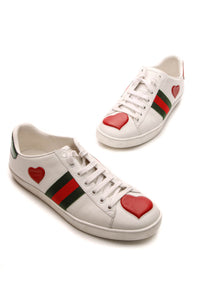 Gucci New Ace Embroidered Heart Sneakers - White Size 38