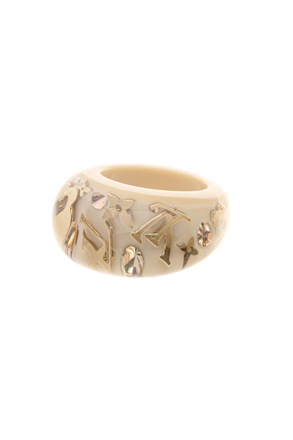 Louis Vuitton Monogram Inclusion Ring - Beige Size 8