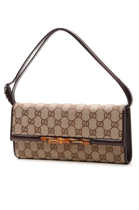 Gucci Bamboo Bar Clutch Bag - Signature Canvas