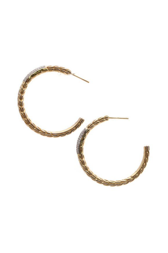 John Hardy Diamond Classic Chain Hoop Earrings - Yellow Gold