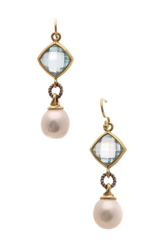 David Yurman Blue Topaz & Pearl Drop Earrings - Silver/Gold