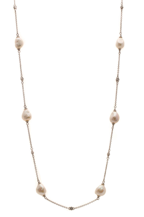 Judith Ripka Baroque Pearl Station Necklace - Silver