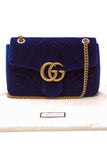 Gucci Velvet Marmont Medium Shoulder Bag - Cobalt Blue